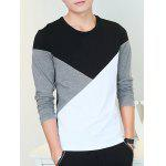 cheap Round Neck Long Sleeve Color Block Tee