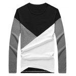 Round Neck Long Sleeve Color Block Tee deal
