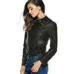 Stylish Pure Color Belted Jacket For Women - BLACK