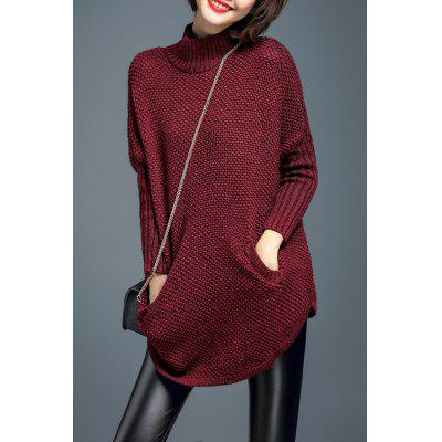 Chunky Turtleneck Tunic Sweater