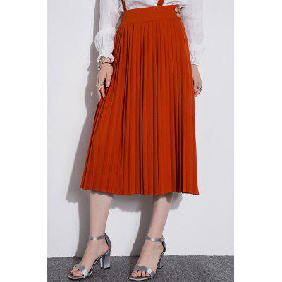 Midi Pleated Suspender Skirt