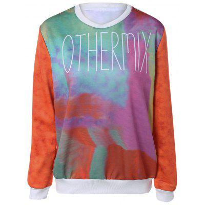 Chic Letter Print Tie Dye Pullover Sweatshirt For Women