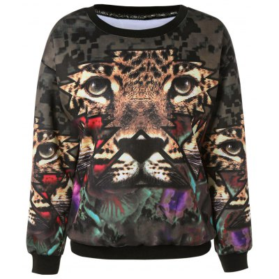 Stylish 3D Tiger Print Pullover Sweatshirt For Women