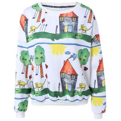 Casual Cartoon Painting Print Pullover Sweatshirt For Women