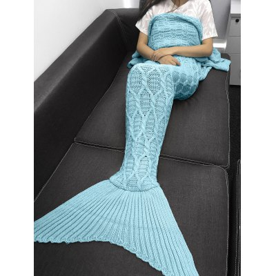 Buy LIGHT BLUE Simple Style Solid Color Crochet Knitting Geometric Pattern Mermaid Tail Design Blanket for $21.26 in GearBest store