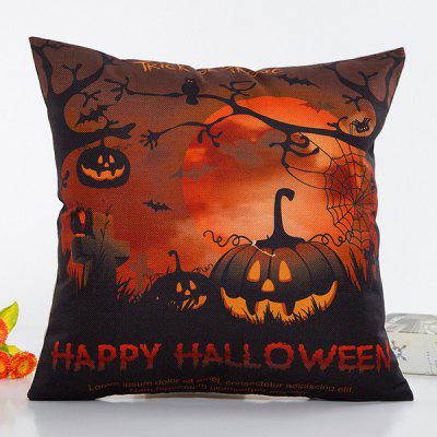 Buy BLACK AND ORANGE Uncanny Halloween Night Pumpkin Face Pattern Pillow Case for $4.40 in GearBest store