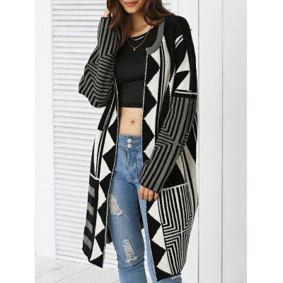 Trendy Geometric Color Block Wool Blend Loose Coat