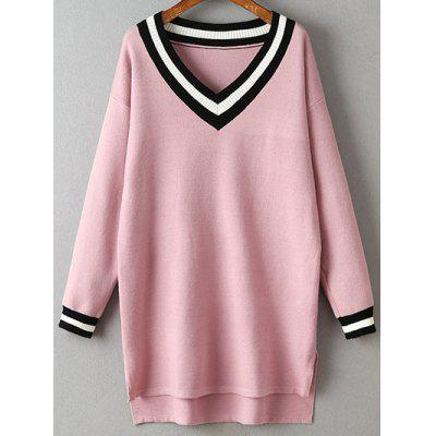 Buy Striped V-Neck Side Slit Sweater Dress PINK for $24.23 in GearBest store