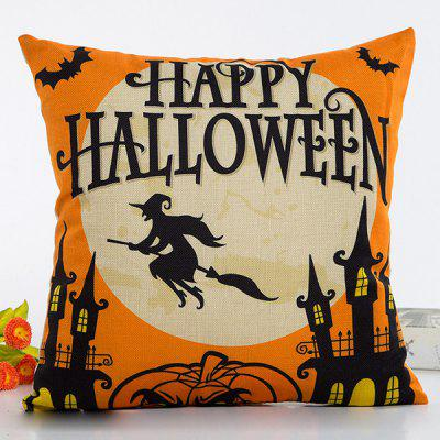 Chic Halloween Witch Pumpkin Pattern Flax Pillow Case