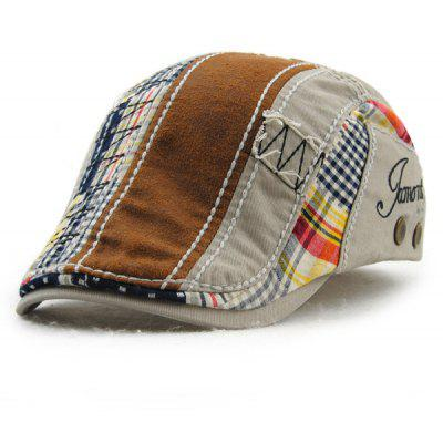 Patchwork Pattern Embroidery Outdoor Sunscreen Cabbie Hat For Men