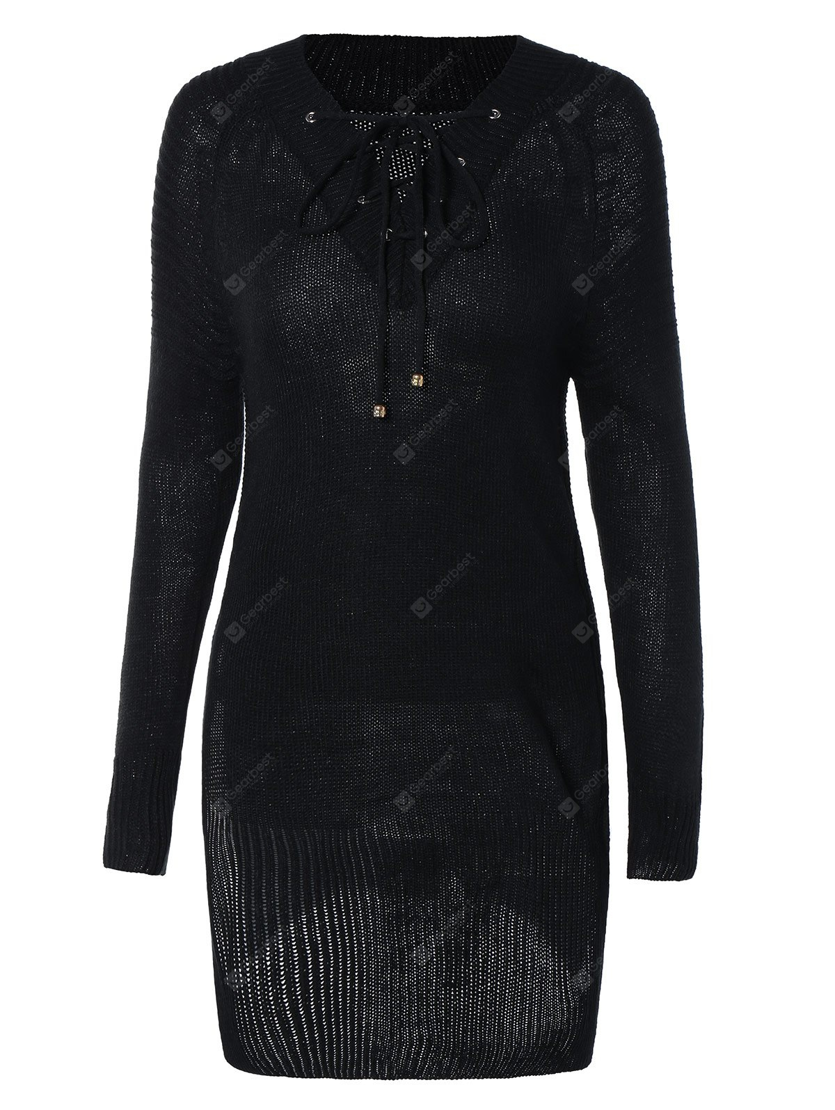 Women's Lace-Up Long Sleeve Black Furcal Sweater