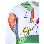Casual Cartoon Painting Print Pullover Sweatshirt For Women - WHITE
