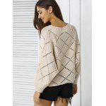 Stylish Batwing Sleeve Argyle Sweater For Women - APRICOT