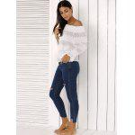 Fashion Off The Shoulder Peplum Top and Distressed Skinny Jeans for sale