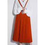cheap Midi Pleated Suspender Skirt