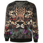 Stylish 3D Tiger Print Pullover Sweatshirt For Women - BROWN