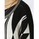 Trendy Geometric Color Block Wool Blend Loose Coat - WHITE AND BLACK