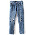 Cute Pockets Cartoon Cat Embroidered Jeans For Women - AZURE