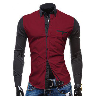 Fashion Shirt Collar Pocket Design Color Block Splicing Slimming Long Sleeve Polyester Button-Down Shirt For Men
