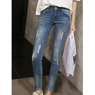 Skinny Ripped Denim Pants For Women