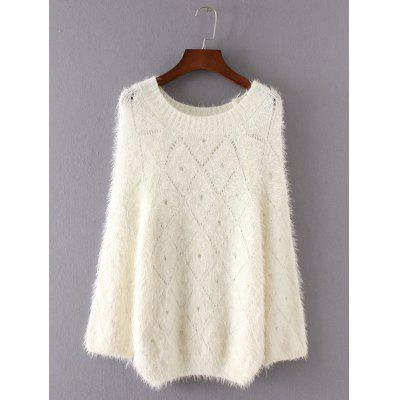 Openwork Loose-Fitting Shaggy Sweater