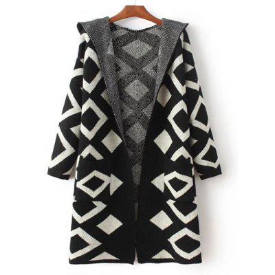Knitted Geometric Print Hooded Cardigan
