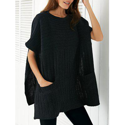 Round Neck Ribbed Cape Plus Size Sweater