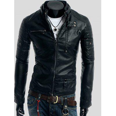 Rivet Embellished Stand Collar Long Sleeve Faux Leather Jacket