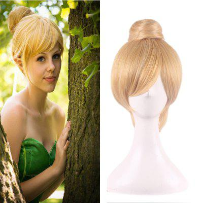 Fashion Short Straight With Bun Blonde Color Synthetic Fairy Tinker Bell Cosplay Wig