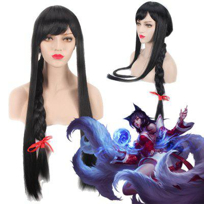 League of Legends LOL	Ahri Extra Long With Braided Black Straight Cosplay Wig