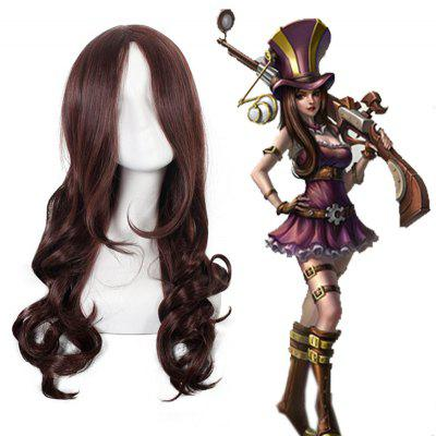 League of Legends LOL Caitlyn Shaggy Wave Dark Brown Long Layered Synthetic Cosplay Wig 192239501