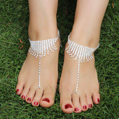 Pair of Rhinestoned Tassel Anklets