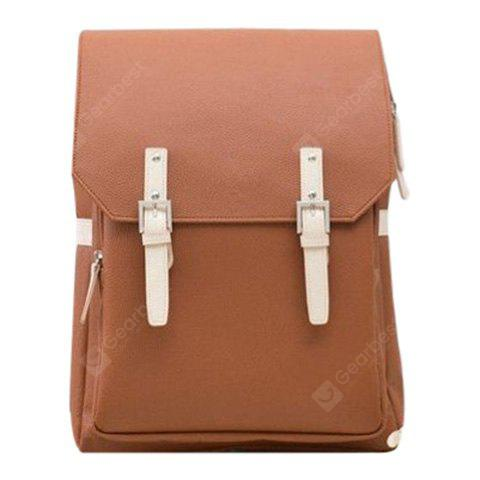 Buy Fashion PU Leather Double Buckle Design Backpack Men BROWN