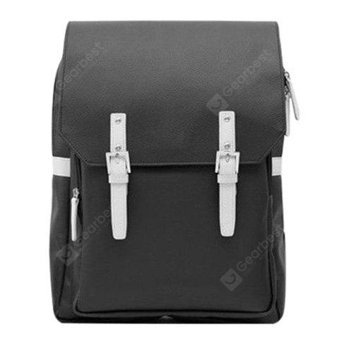 Buy Fashion PU Leather Double Buckle Design Backpack Men BLACK