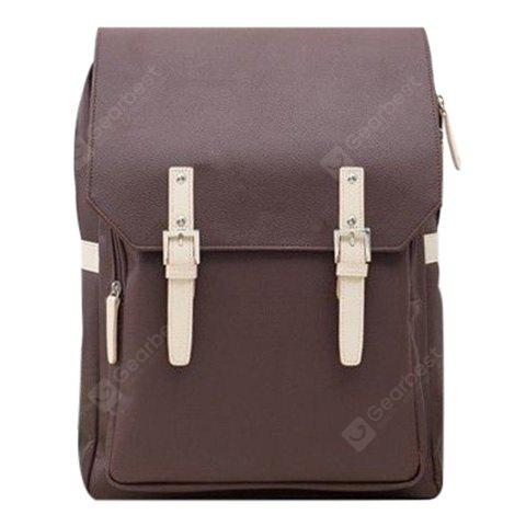 Buy Fashion PU Leather Double Buckle Design Backpack Men COFFEE
