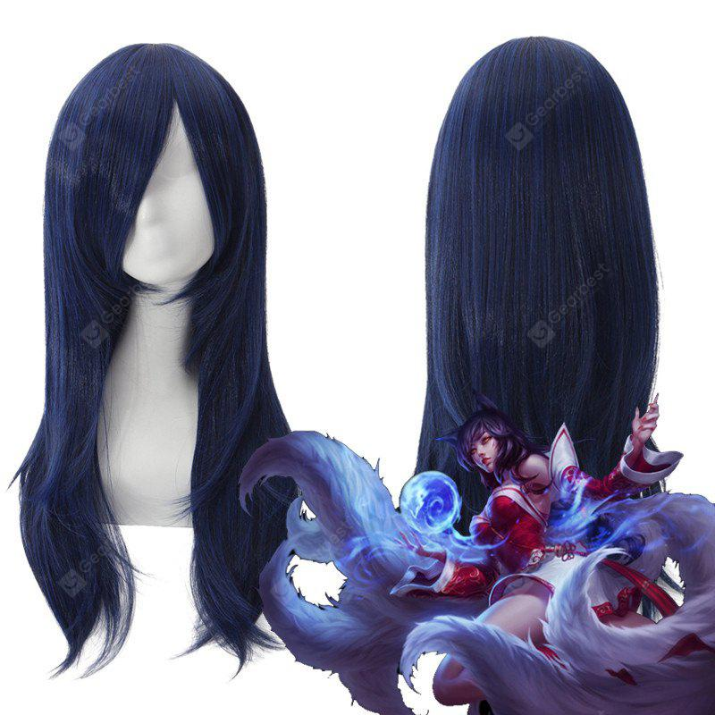 League of Legends LOL	Ahri Fluffy Straight Long Layered Blue Black Cosplay Wig