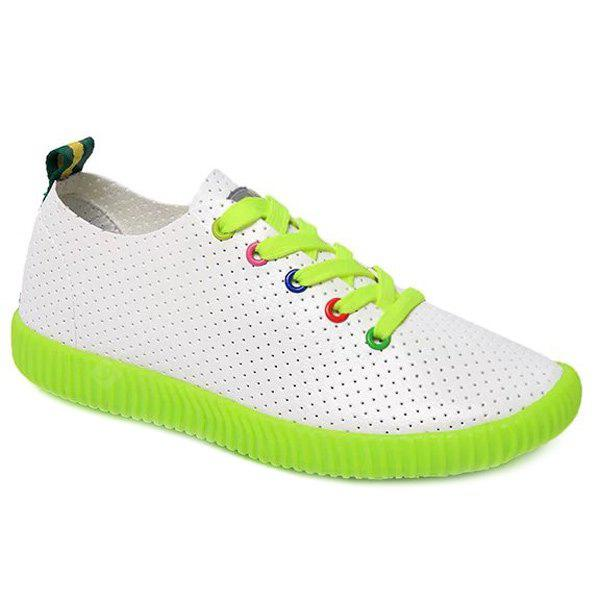 Leisure Respirável e colorido Eyelet Design Athletic Shoes para mulheres