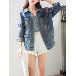 Trendy Applique Loose Fitting Jacket For Women - BLUE
