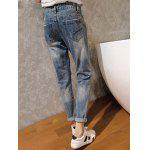 Casual High Waist Ripped Denim Cuffed Pants - BLUE