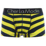 Cherlamode 3PCS U Pouch Design Color Block Striped Boxer Briefs For Men - COLORMIX