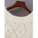 Openwork Loose-Fitting Shaggy Sweater - WHITE