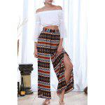 Print Slit Wide Leg Pants deal