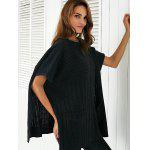 Round Neck Ribbed Cape Plus Size Sweater - BLACK
