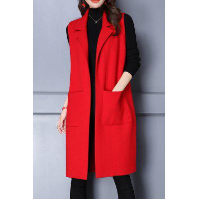 Lapel Letter Pattern Long Sleeveless Cardigan