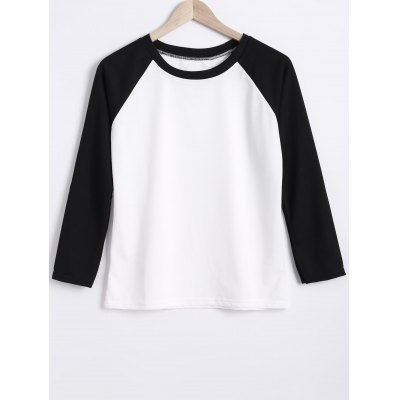 Round Neck Color Block Raglan Sleeve Sweatshirt