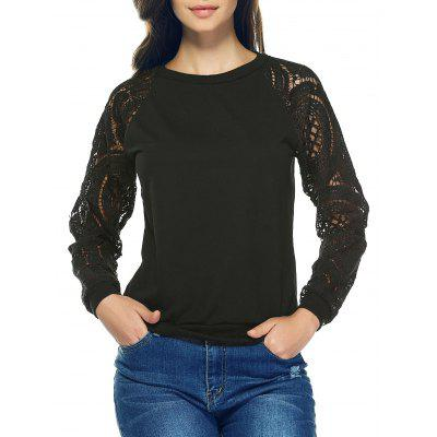 Lace Crochet Long Sleeve Round Neck Sweatshirt
