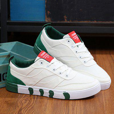 Stylish Splicing and Lace-Up Design Canvas Shoes For Men
