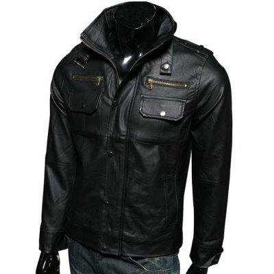 Stand Collar Epaulet Design Multi-Pockets Long Sleeve PU-Leather Jacket