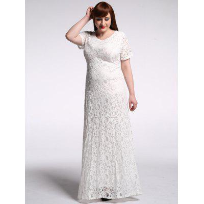 Buy WHITE Plus Size High Waist Hollow Out Lace Maxi Prom Dress for $26.31 in GearBest store