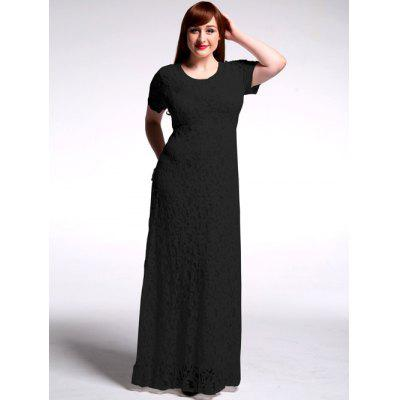 Buy BLACK Plus Size High Waist Hollow Out Lace Maxi Prom Dress for $37.44 in GearBest store